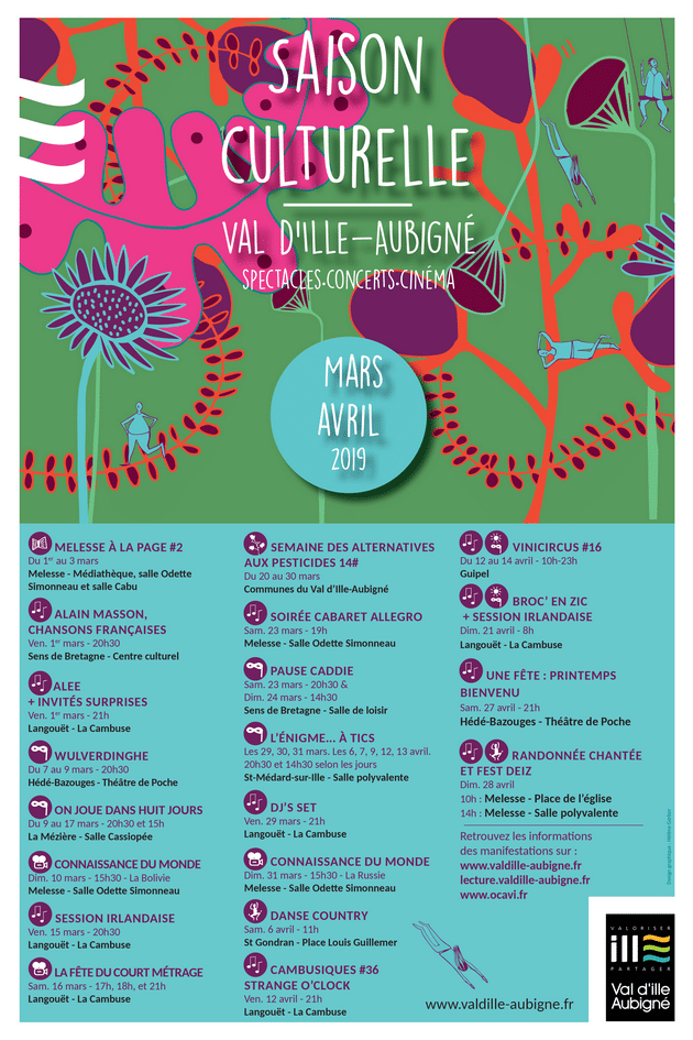 Affiche de l'agenda culturel de mars-avril 2019