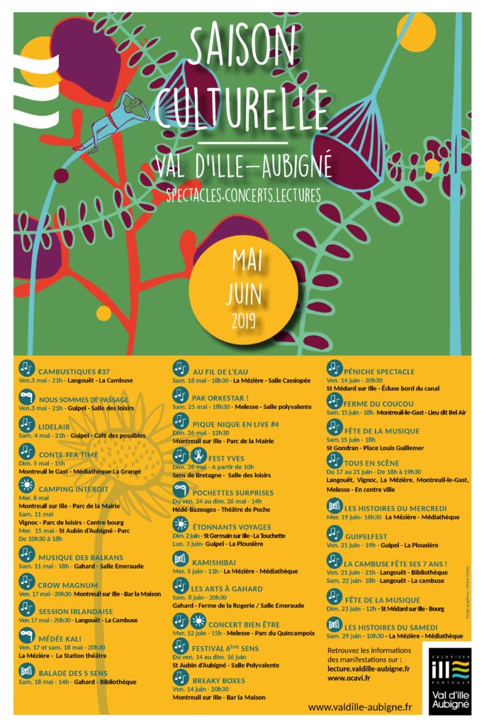 Affiche de l'agenda culturel de mai-juin 2019