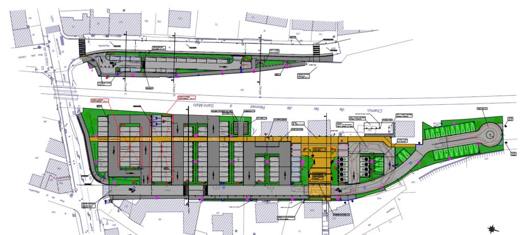 plan du pôle d'échange multimodal de Montreuil sur Ille